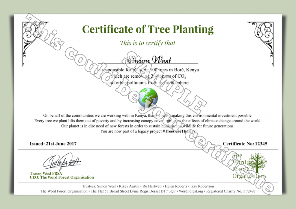 Certificate of Tree Planting for The Word Forest Organisation