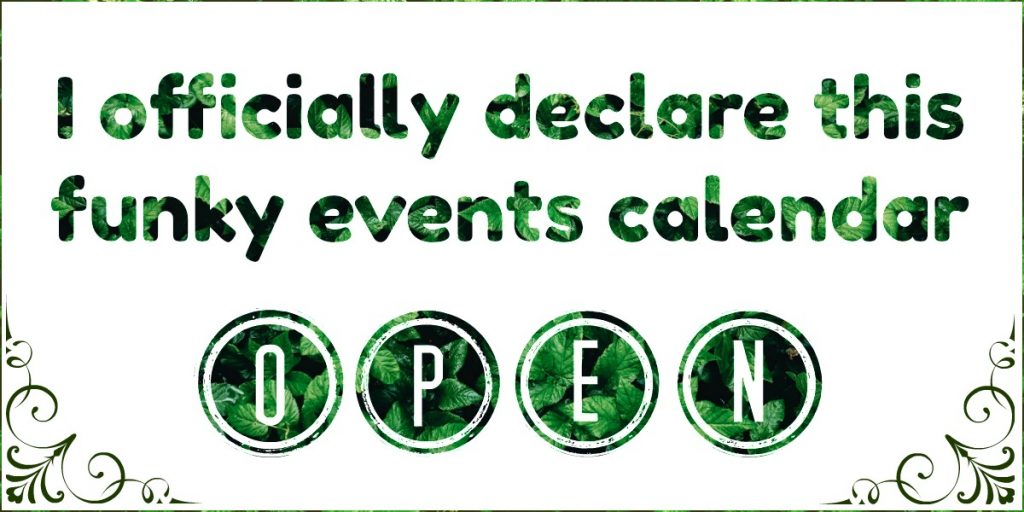 Events Calendar Is Open!
