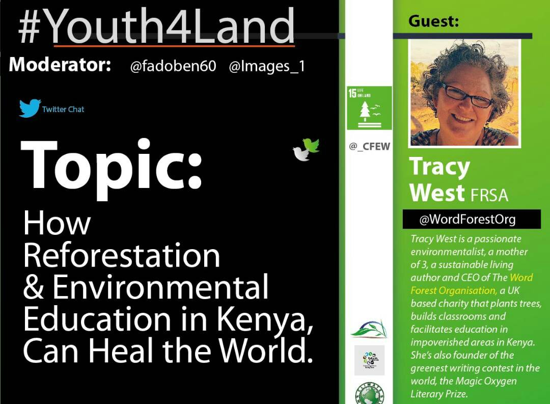 Twitter Chat Poster for Tracey West of The Word Forest Organisation with Youth4Land