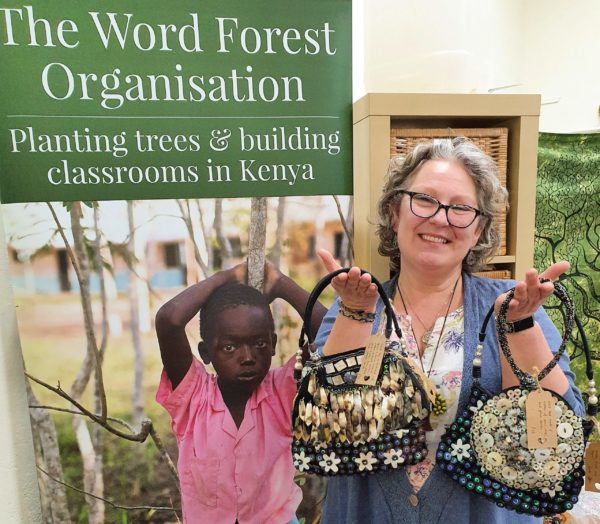 Tracey West and the fundraising bags