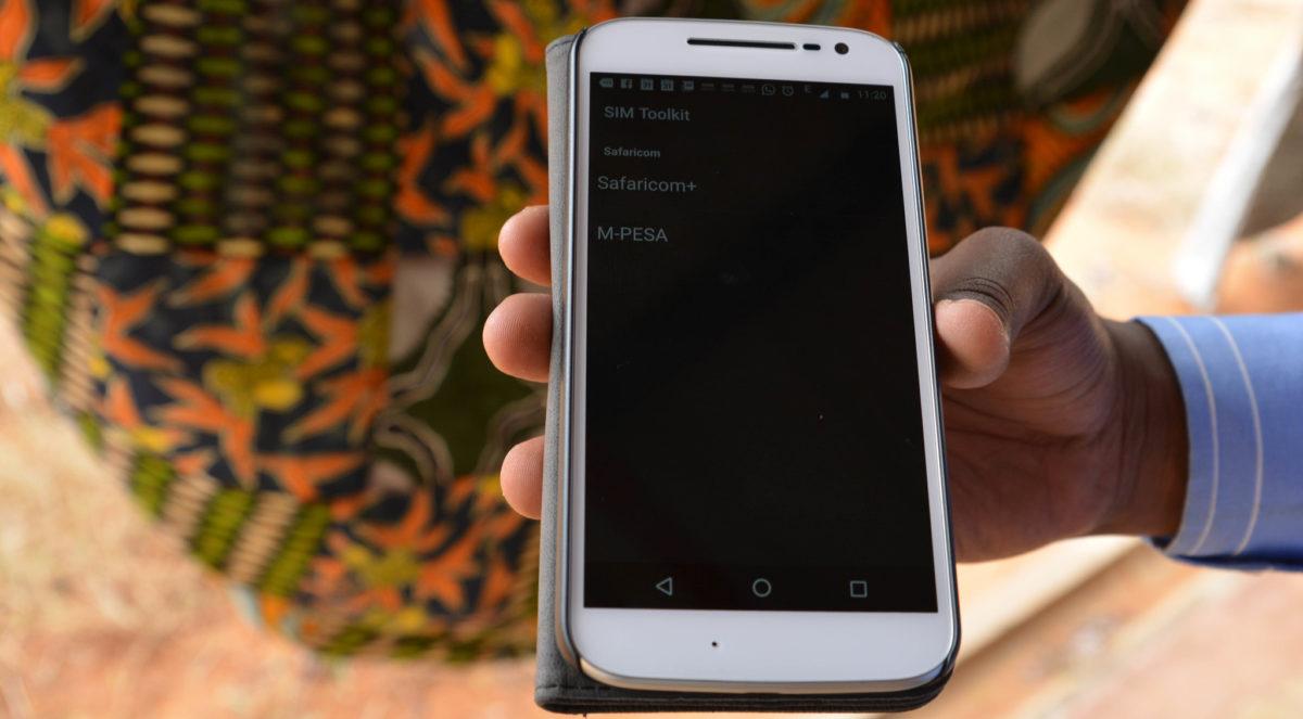Phone showing Safaricom M-PESA