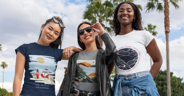 Three women in Phat Collection organic cotton tee shirts from The Word Forest Organisation
