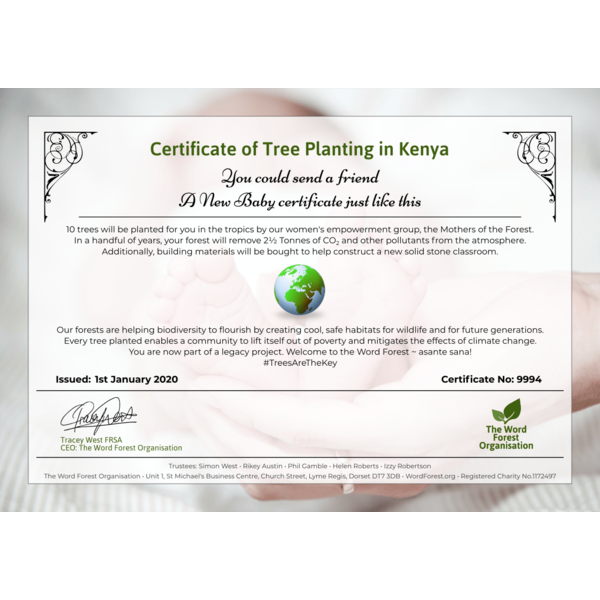 New Baby certificate