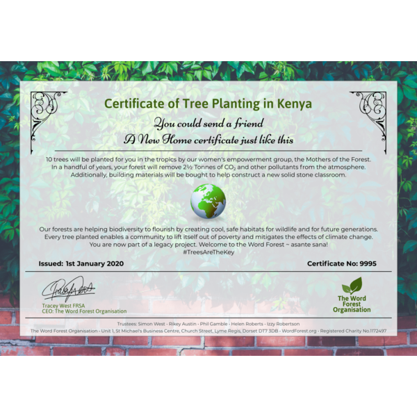 New Home certificate