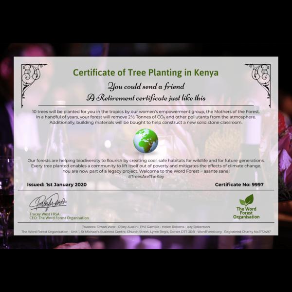Retirement certificate
