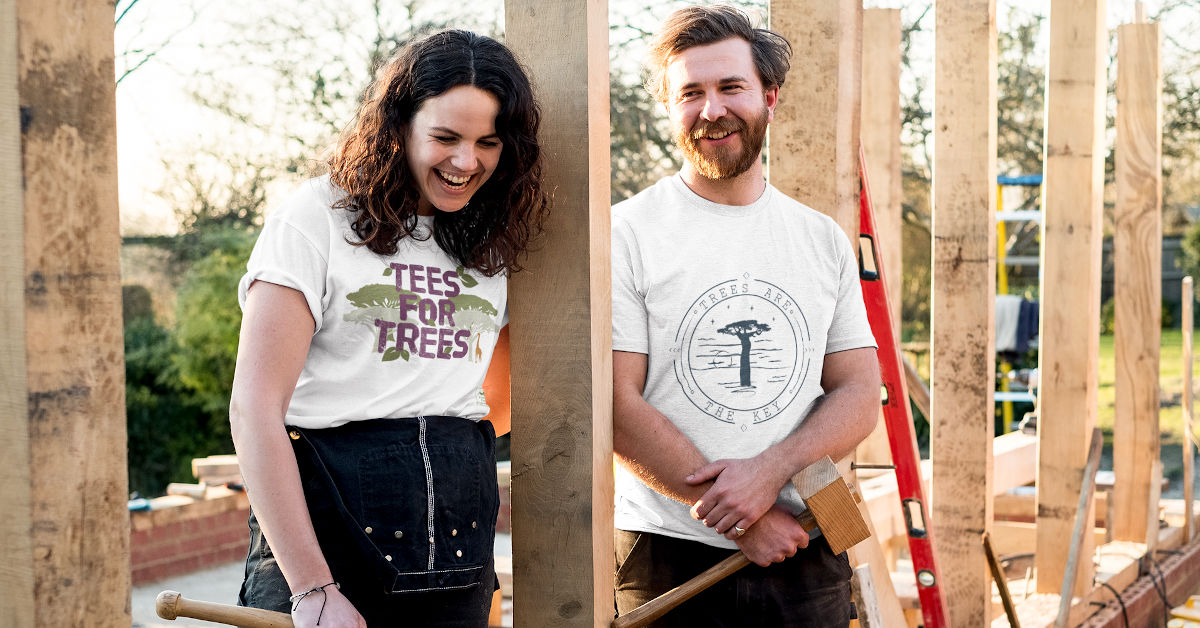 Woman and man wearing TWFO T-shirts