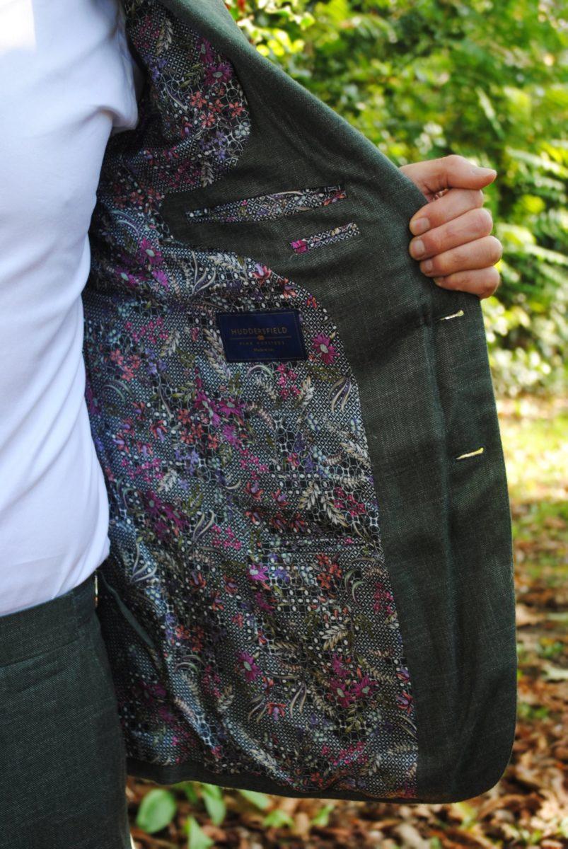 Green bamboo internal suit lining