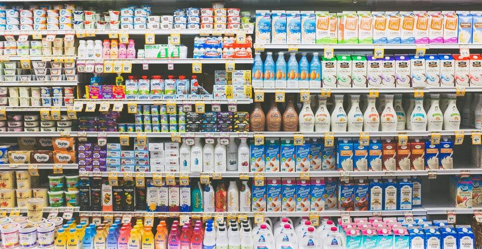 Shelves full of plant-based milks