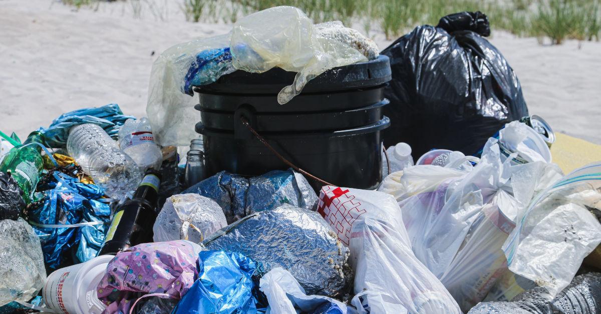 Piles of plastic rubbish