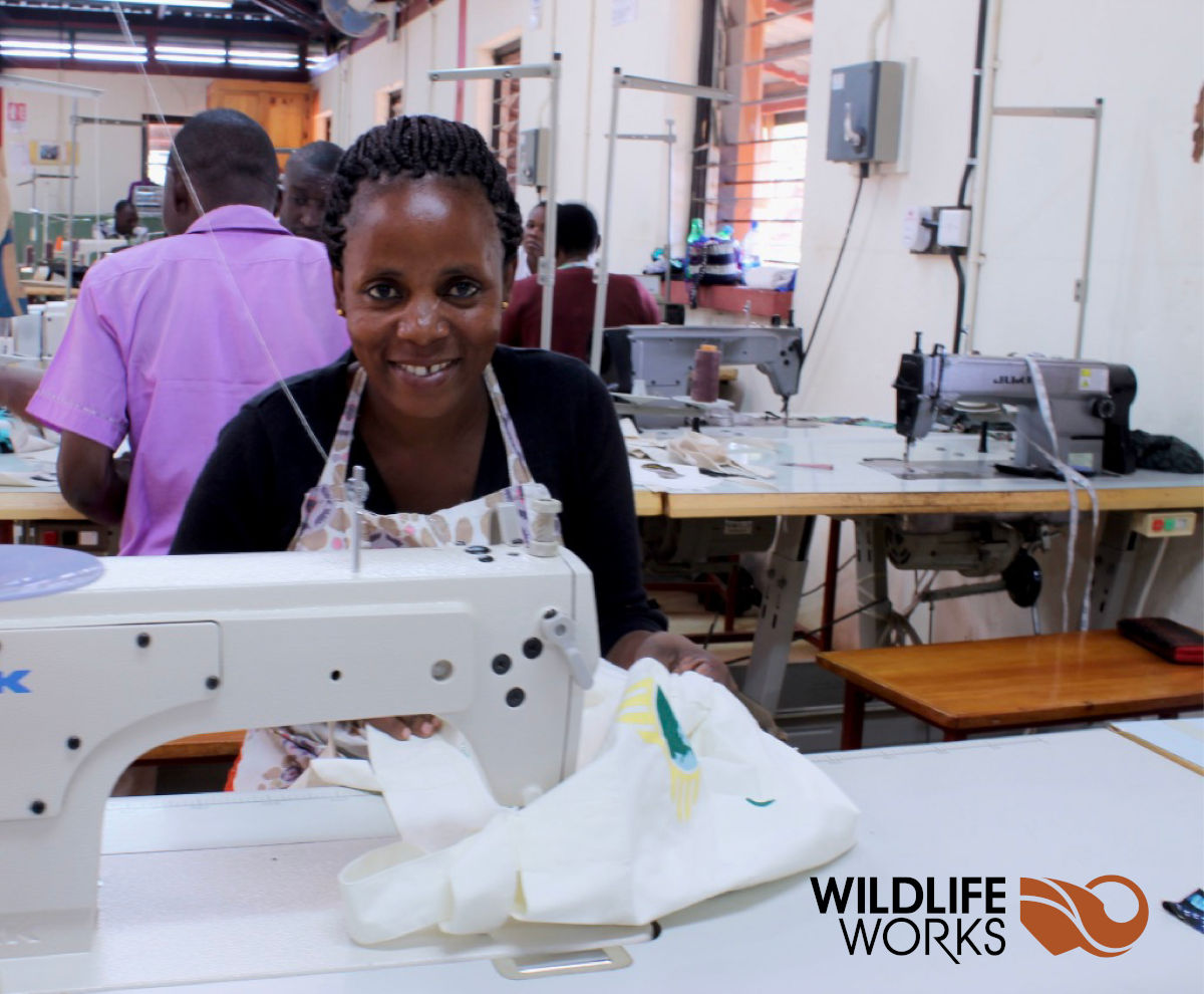 Wildlife Works sewing machine operator in the factory