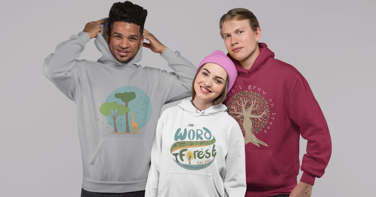 Group of three friends wearing TWFO hoodies