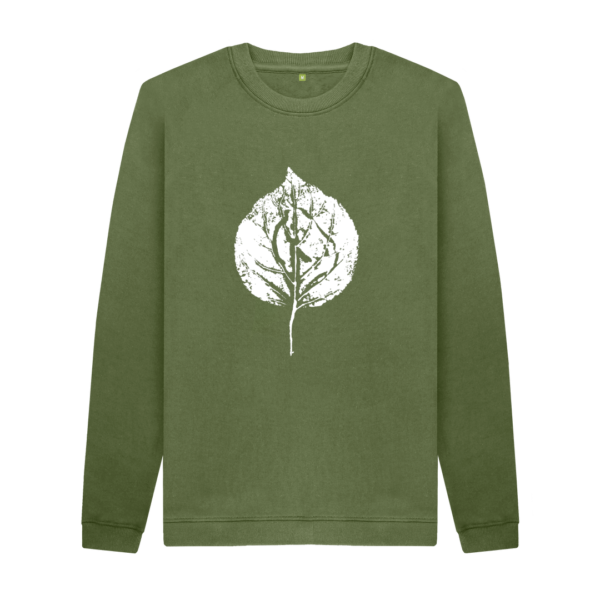 Men's Apricot Leaf Print Crew Neck Sweater (Dark)