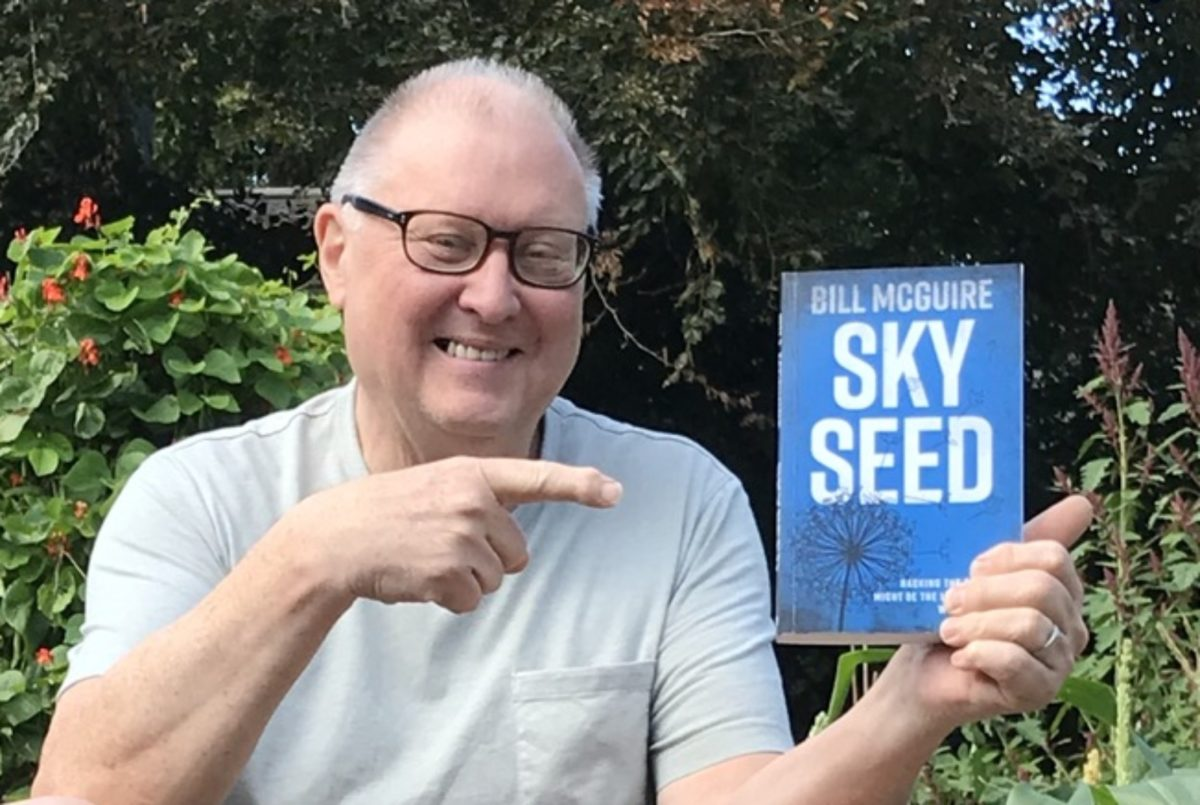 Professor Bill McGuire with his most recent book, Skyseed
