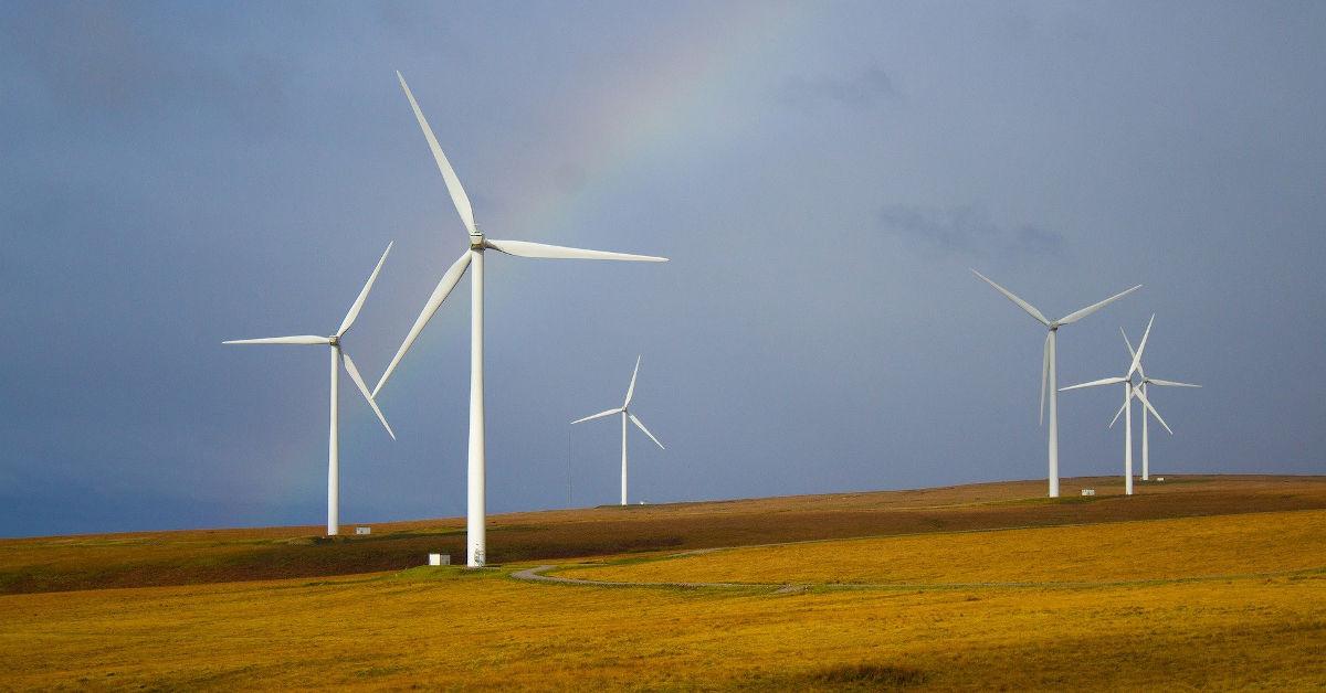 Wind turbines on open hills