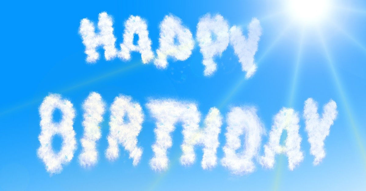 Happy Birthday written with clouds