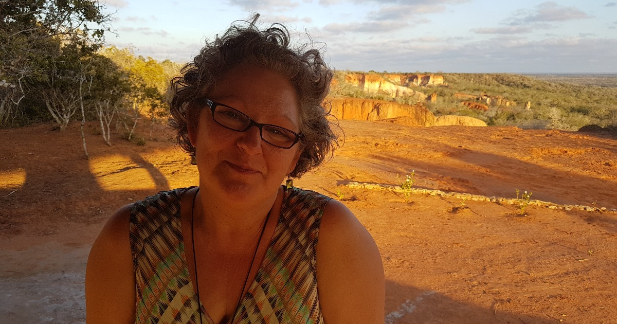 Tracey at sunset in the Bore Community Forest Centre