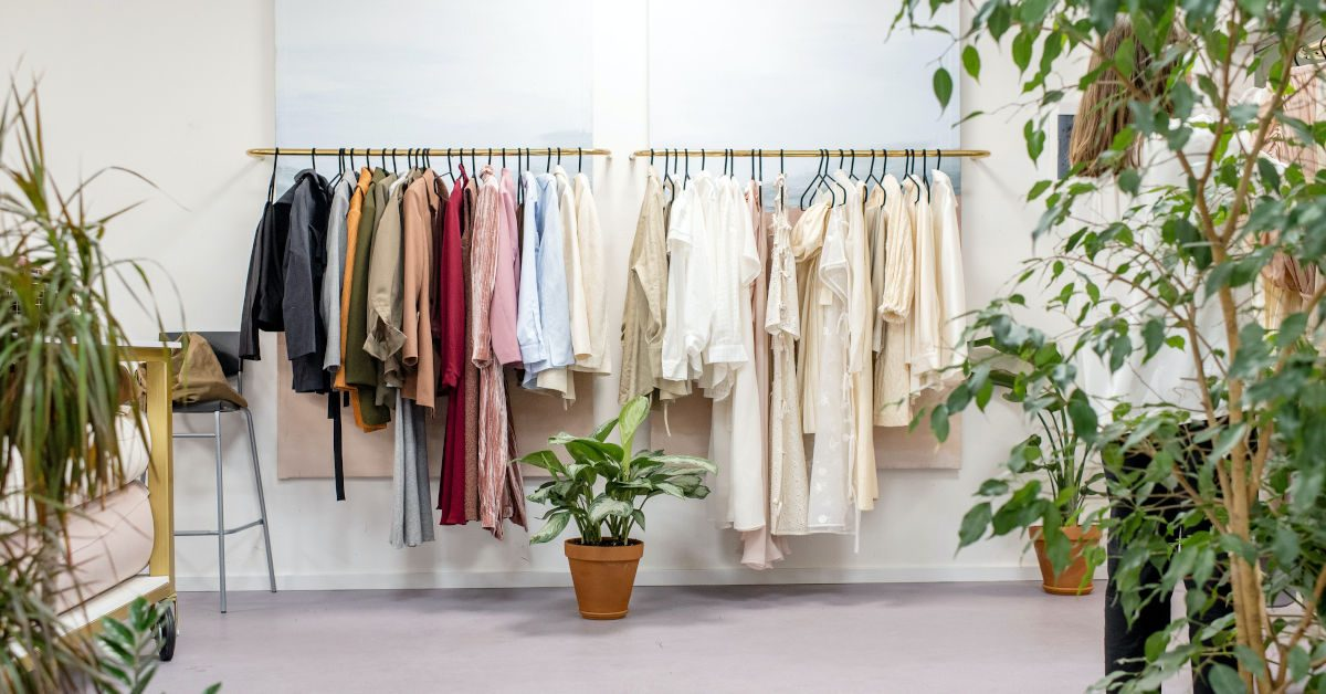 Clothes on a rack in an up-market boutique