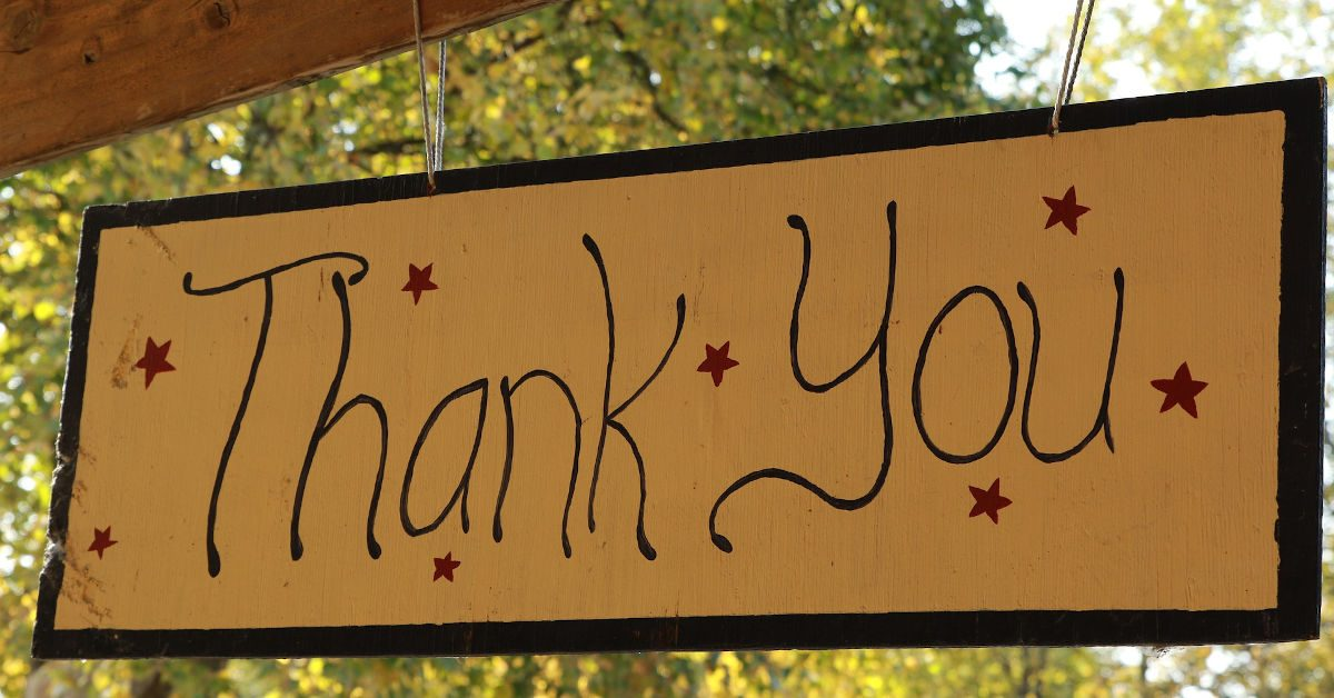 Thank You sign by Orna Wachman from Pixabay